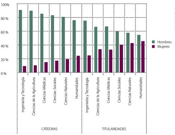 Cátedras y titularidades en la universidad pública española según área de conocimiento. Curso 2008-2009. Fuente: Científicas en cifras 2011.